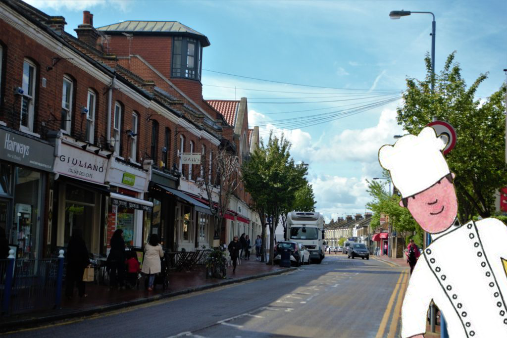 Mr Benn as a cook on Lacy Road in Putney