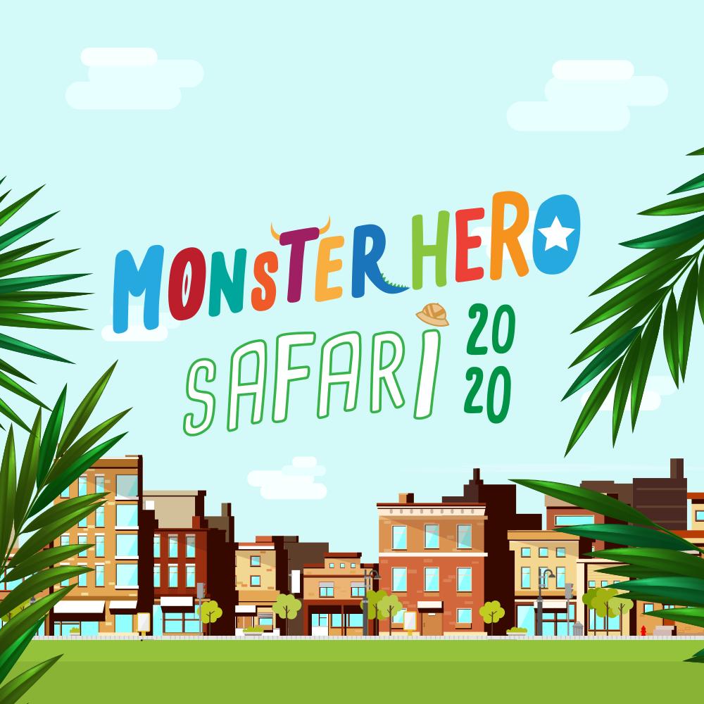 colouful banner monster hero safari