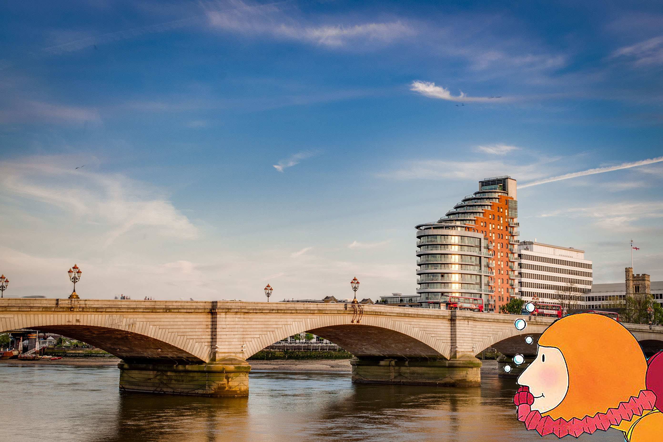 A cartoon scuba diver swimming in the Thames by Putney Bridge