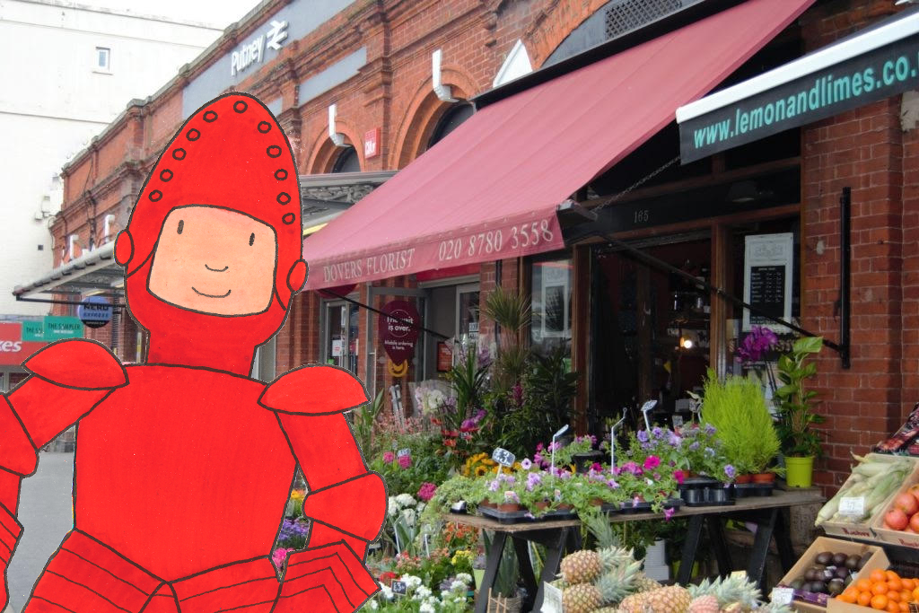 Mr Benn as the Red Knight outside a florist